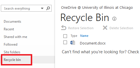 One Drive Recycle Bin screen highlighting the Recycle bin button in the left navigation