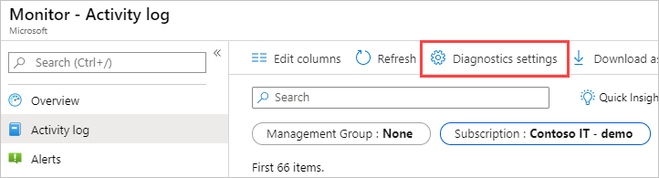 where to find diagnostic settings in Monitor Activity Log