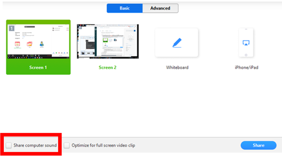 example screen with options to select screen 1 or screen 2, screen 1 is selected and below is the Share computer sound option with a checkbox