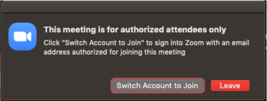 In meeting notice to log into account with correct email