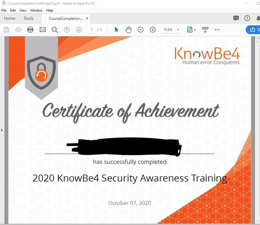 example certificate of completion