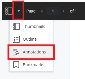 showing the dropdown menu and the third ilink for annotations