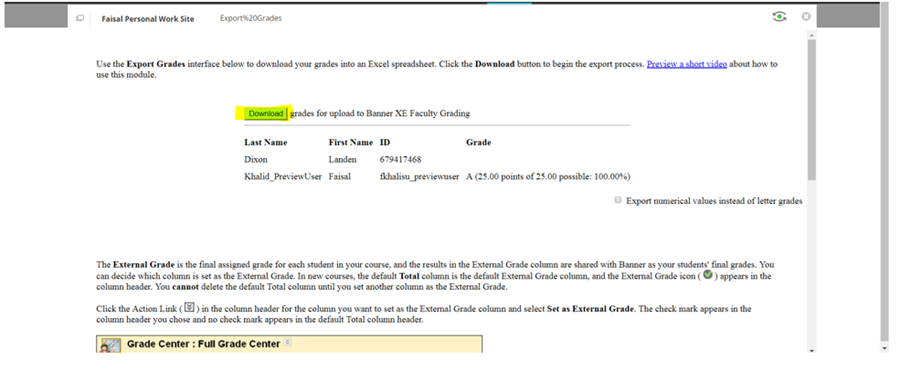 example export grades screen highlighting the download button