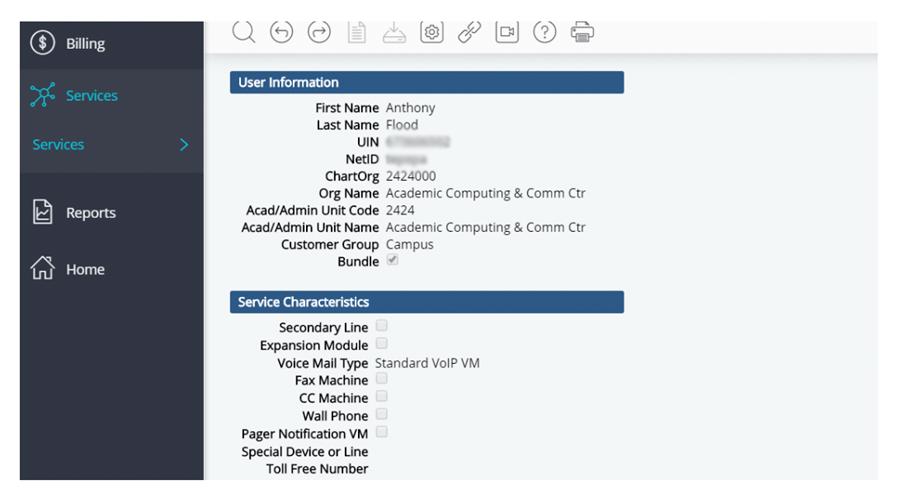 user information screen