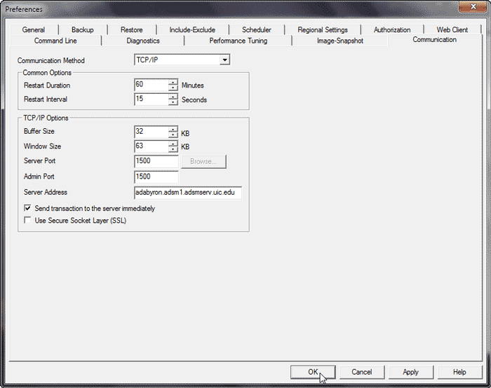 example windows preference screen