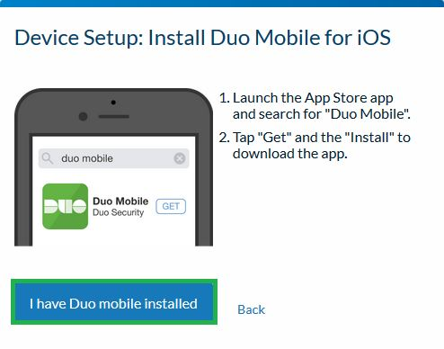 Device Setup:  Install Duo Mobile for iOS