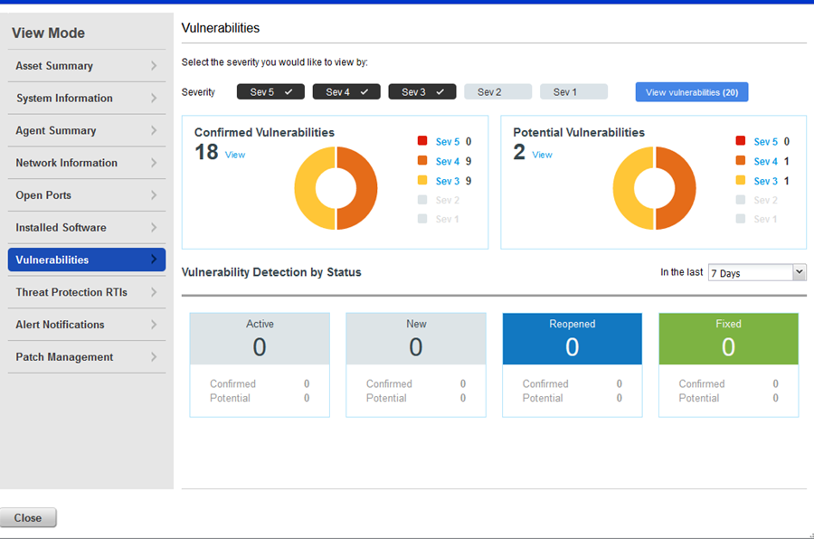 example vulnerabilities tab