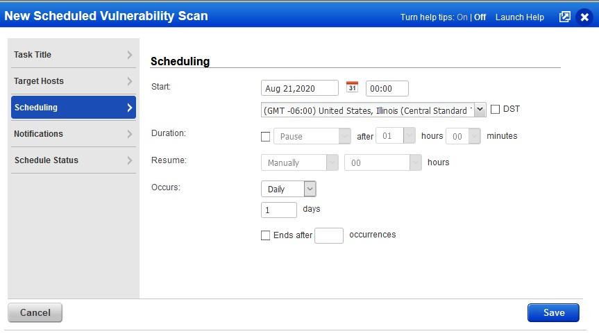 example scheduling screen