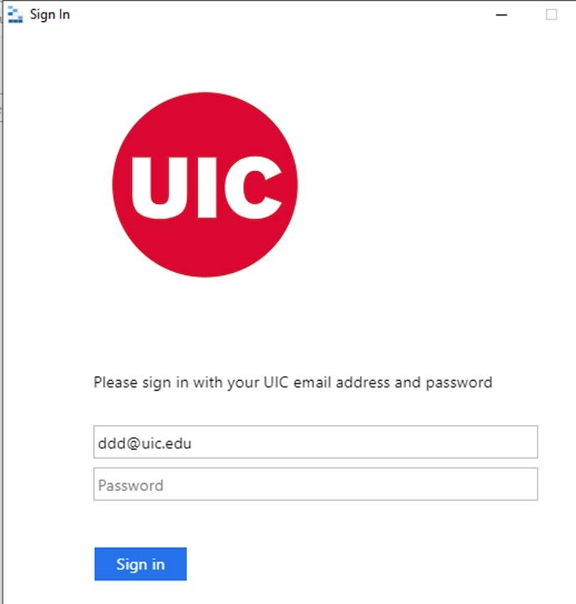 U I C sign in page with fields for email and password