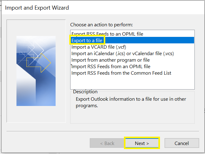 where to find export to a file and next