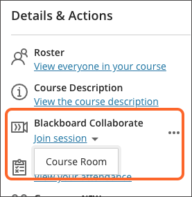 Details and Actions screen highlighting the Blackboard Collaborate join session link with drop down to course room