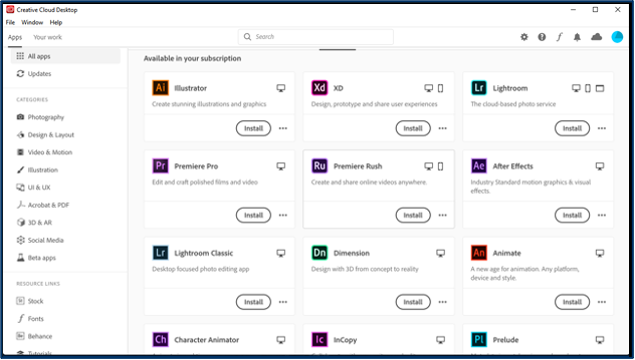 Creative Cloud Desktop App - App listing