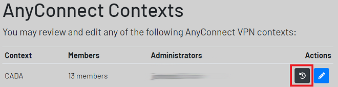 any connect contexts screen highlighting refresh button