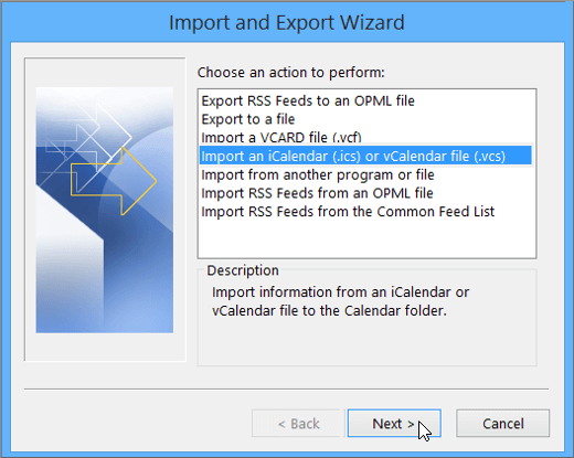 Import and Export screen