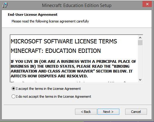 user agreement screen