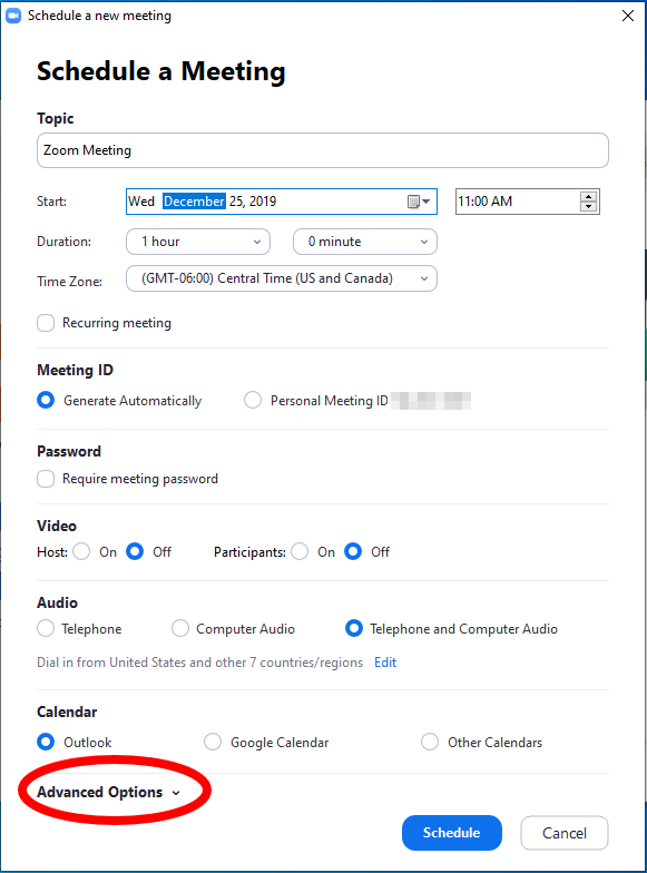 schedule a meeting screen. Fields include topic, start, duration time zone, recurring meeting checkbox, meeting ID options, password toggle video options audio options calendar option and button for advanced options