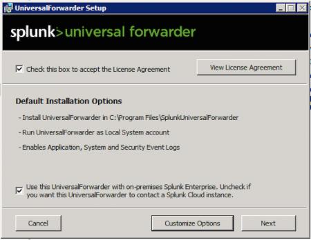 splunk universal forwarder screen