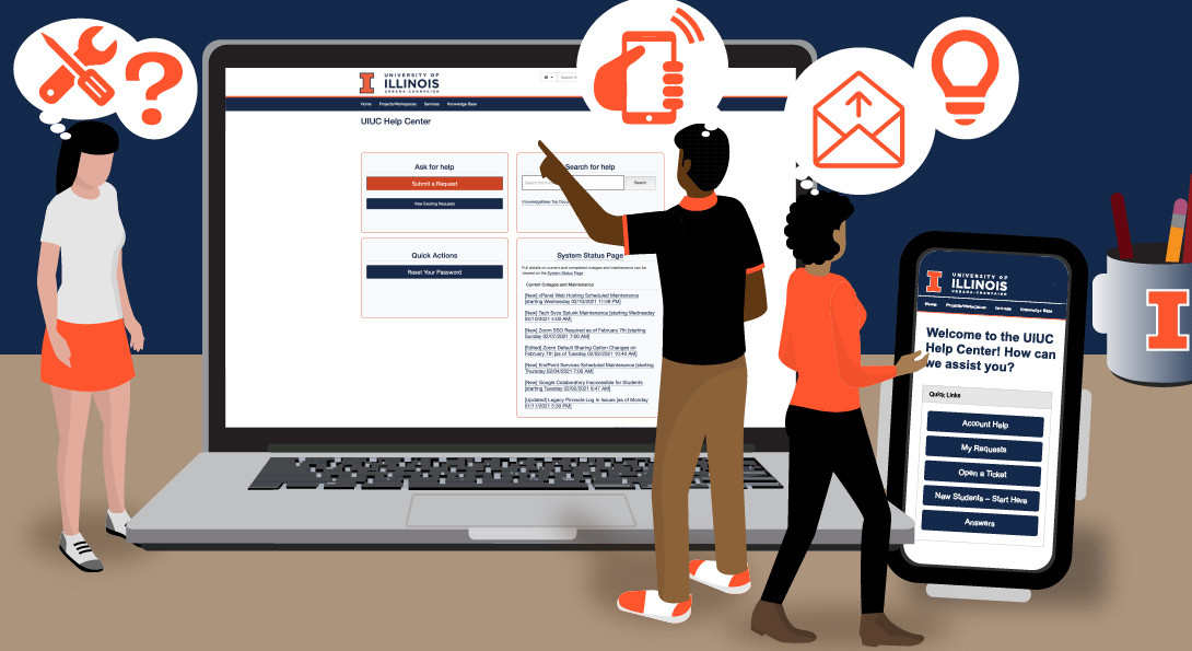 Cartoon representation of the UIUC Help Center website display with screens and icons