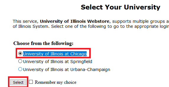 Select UIC as your campus
