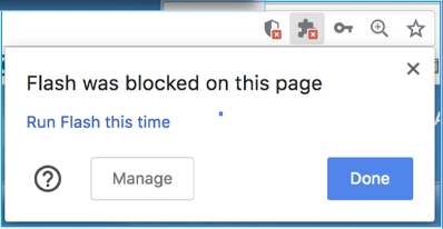 Flash blocked message