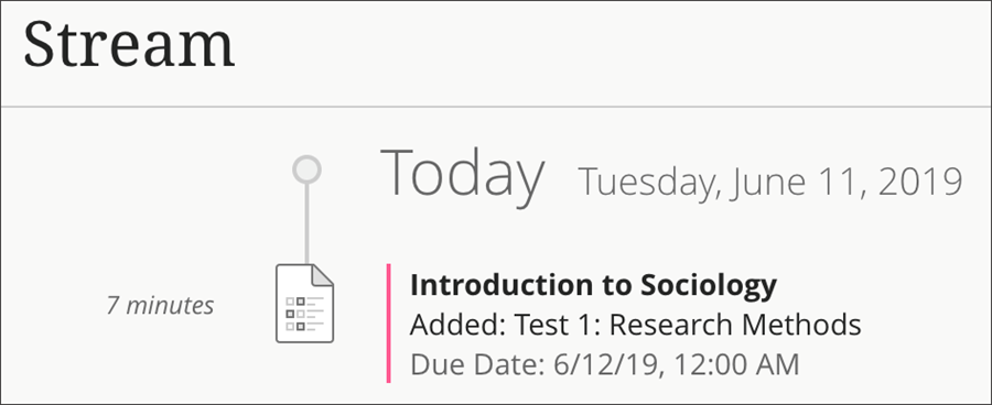 Example Stream with date, Course, test title and due date