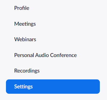 where to find Profile settings
