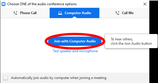 audio options pop up highlighting the join with computer audio button