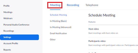 settings page highlighting the meeting button