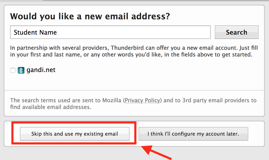 button: skip this and use my existing email