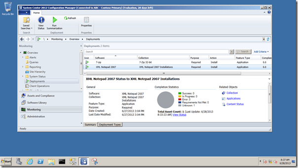 deployments screen example