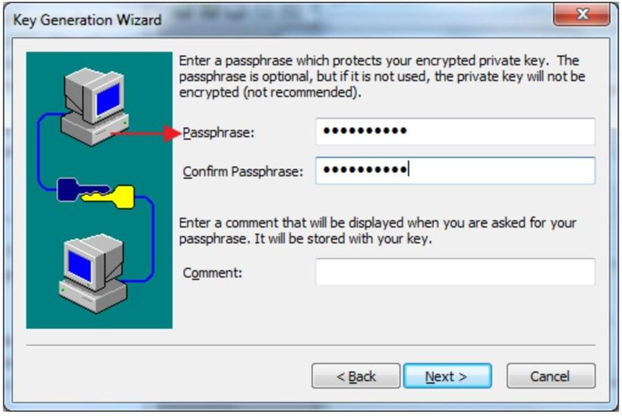 where to enter and confirm passphrase