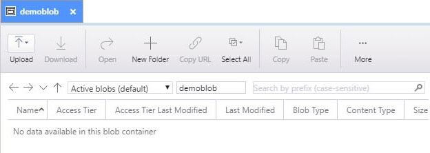 example create blob container screen