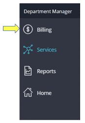 shows billing in menu