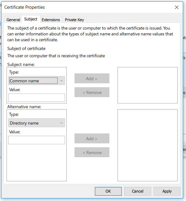 Add subject name attributes
