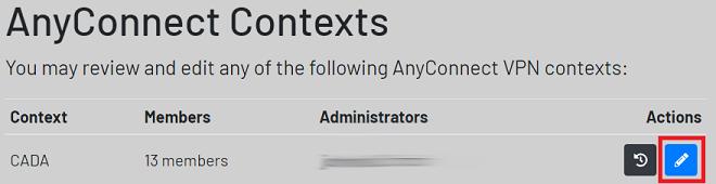 contexts screen highlighting edit button