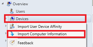 where to find devices and import options