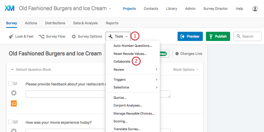 example qualtics screen highlighting tools option in the survey menu with a drop down showing the collaborate option