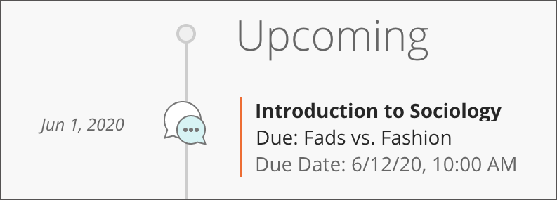 Upcoming screen, shows Course Name, Discussion Name and Due Date