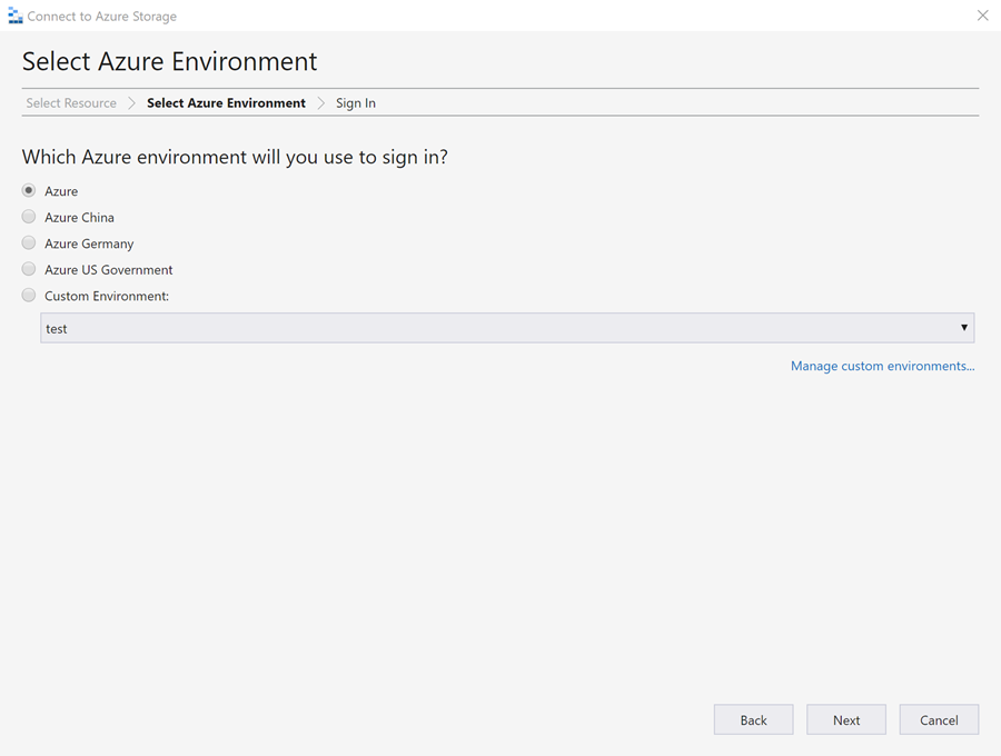 select azure environment panel with radio button for azure