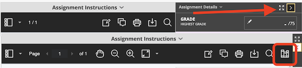 Assignment instructions menu showing the expand button and then the expanded menu highlighting the last icon in the bar