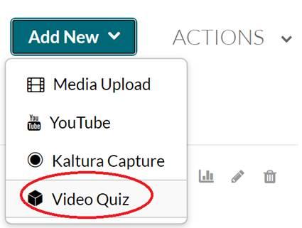 Add New menu highlighting the Video Quiz options
