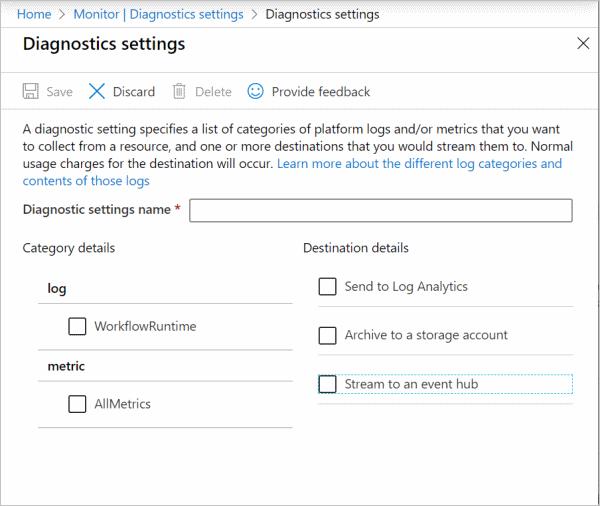 Diagnostic settings screen