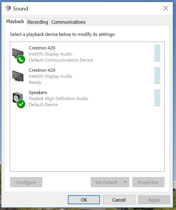 Sound screen Playback tab showing example list of devices