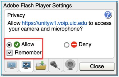 Allow flash checkbox