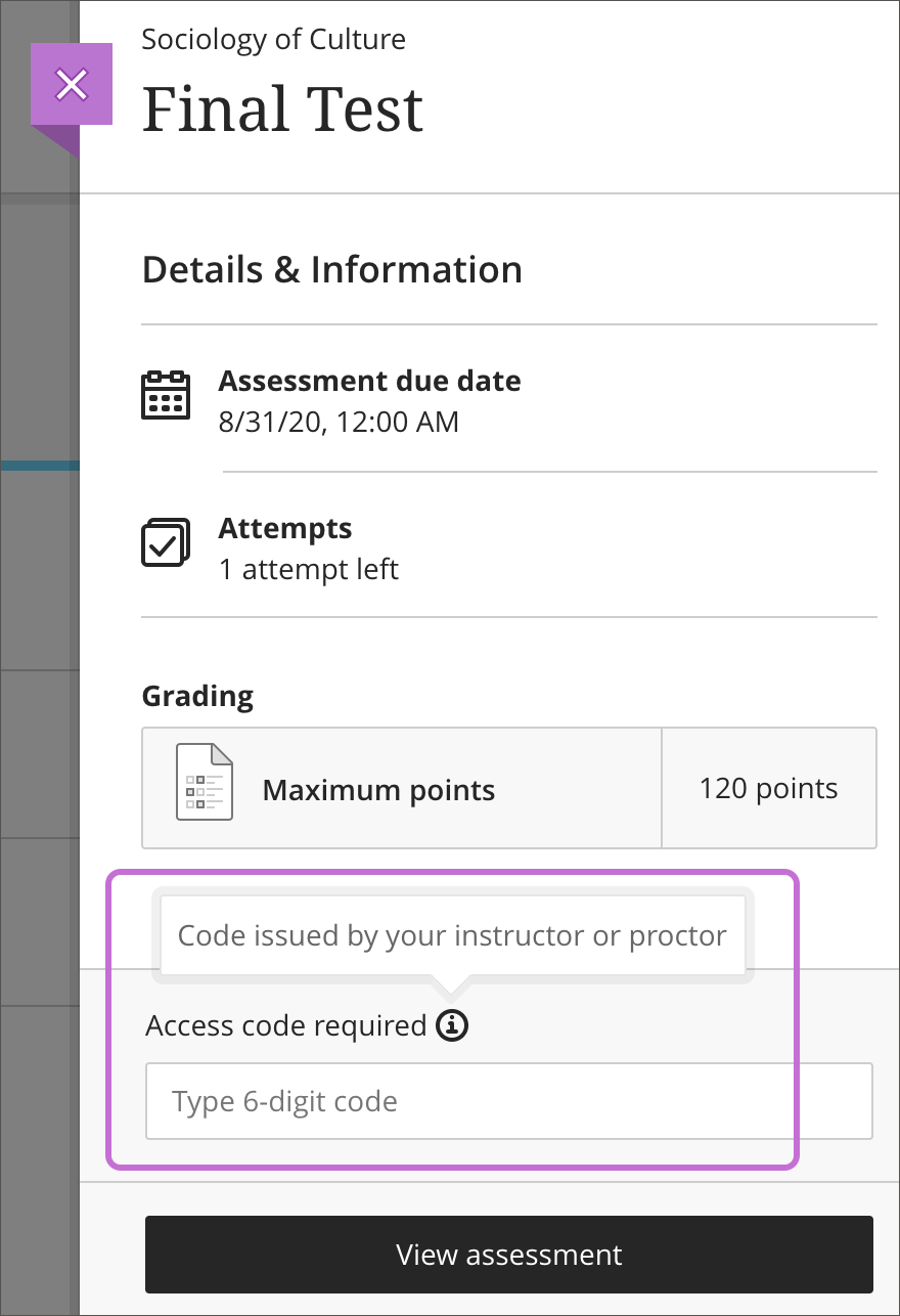 test panel highlighting area at the bottom to enter the access code