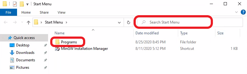File tab highlighting the search area at the far right in the navigation bar and programs folder location