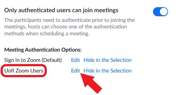 Zoom authentication profile options