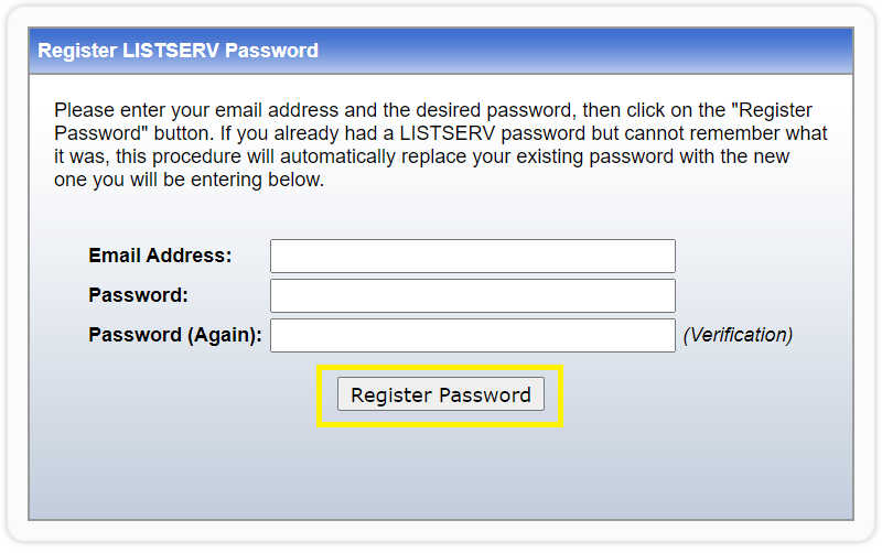 register password button