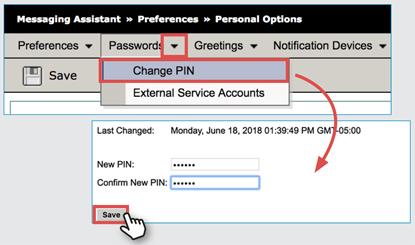 example change pin screen