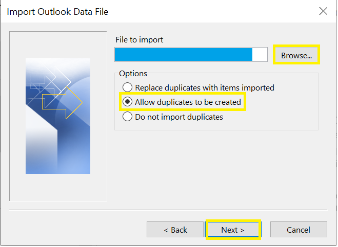 import outlook data file screen